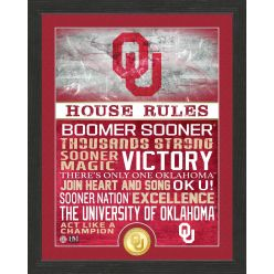 University of Oklahoma Sooners House Rules Bronze Coin Photo Mint