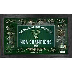 Milwaukee Bucks 2021 Banner Raising Signature Framed Photo