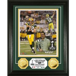 Aaron Rodgers Super Bowl XLV MVP 24KT Gold Coin Photo Mint
