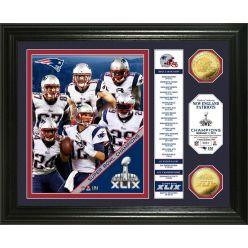 "New England Patriots Super Bowl XLIX Champions ""Banner"" Gold Coin Photo Mint"