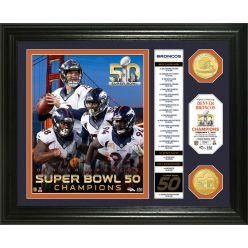 """Denver Broncos Super Bowl 50 Champions """"Banner"""" Bronze Coin Photo Mint"""