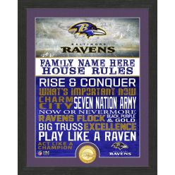Personalized Baltimore Ravens House Rules Bronze Coin Photo Mint