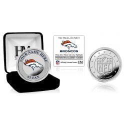 Denver Broncos Personalized Name Silver Plated Color Coin