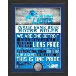 Personalized Detroit Lions House Rules Bronze Coin Photo Mint