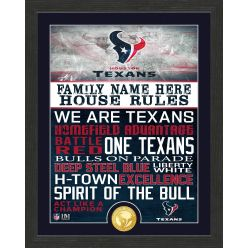Personalized Houston Texans House Rules Bronze Coin Photo Mint