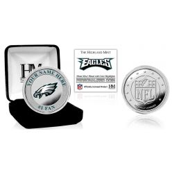 Philadelphia Eagles Personalized Name Silver Plated Color Coin