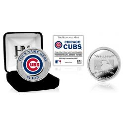 Chicago Cubs Personalized Name Silver Plated Color Coin