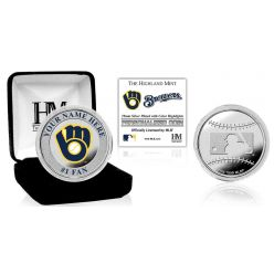Milwaukee Brewers Personalized Name Silver Plated Color Coin