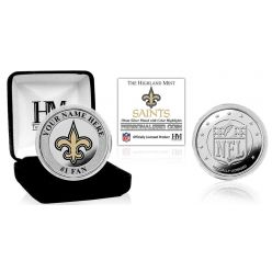 New Orleans Saints Personalized Name Silver Plated Color Coin