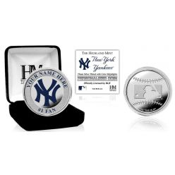 New York Yankees Personalized Name Silver Plated Color Coin