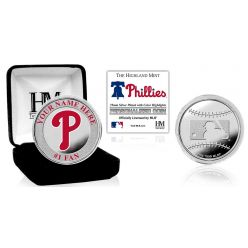 Philadelphia Phillies Personalized Name Silver Plated Color Coin