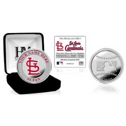 St Louis Cardinals Personalized Name Silver Plated Color Coin