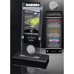 Raiders 3x Champions Ticket & Minted Coin Acrylic Desk Top
