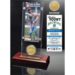 """Robin Yount """"Hall of Fame"""" Ticket & Bronze Coin Acrylic Desk Top"""
