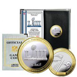 Super Bowl 53 Official 2-Tone Flip Coin New England Patriots Vs. Los Angeles Rams