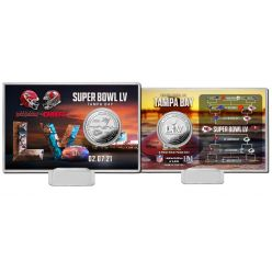 Kansas City Chiefs vs Tampa Bay Buccaneers Super Bowl 55 Dueling Silver Flip Coin Card