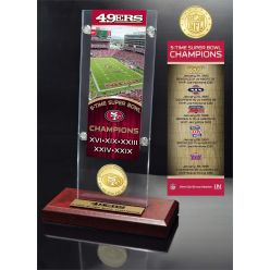 San Francisco 49ers 5-Time Super Bowl Champions Ticket & Bronze Coin Acrylic Desk Top