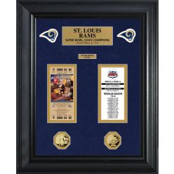 St Louis Rams Super Bowl Ticket and Game Coin Collection Framed