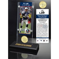 Ty Law Hall of Fame 2019 Bronze Coin Acrylic Desk Top
