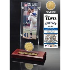 """Tom Seaver """"Hall of Fame"""" Ticket & Bronze Coin Acrylic Desk Top"""
