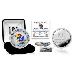 University of Kansas Basketball Color Silver Coin