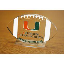 University of Miami Etched Football Acrylic