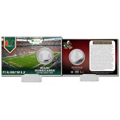 University of Miami Team History Silver Coin Card