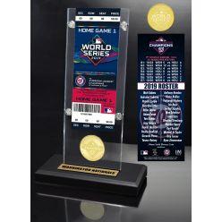 Washington Nationals 2019 World Series Champions Ticket & Bronze Coin Acrylic Desk Top