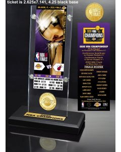 2020 NBA Finals Champions  Los Angeles Lakers Ticket & Bronze Coin Acrylic Desk Top