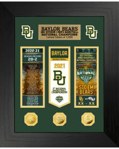 Baylor 2021 Men's Basketball Champions Deluxe Gold Coin Ticket and Banner Photo Mint