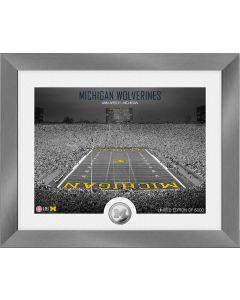 Michigan Wolverines Art Deco Stadium Silver Coin Photo Mint